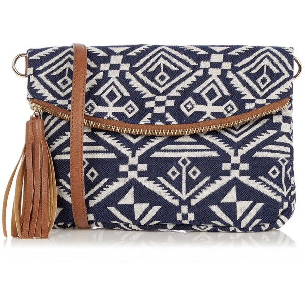 OASIS Aztec Cross-Body Bag (140 PEN) ❤ liked on Polyvore featuring bags, handbags, shoulder bags, multi, print handbags, blue shoulder bag, pattern purse, blue handbags and blue purse