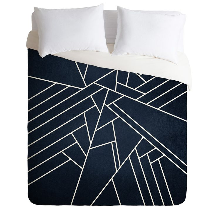 Elisabeth Fredriksson Geometric Navy Duvet Cover | DENY Designs Home Accessories