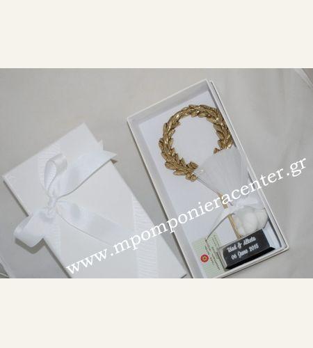 Μπομπονιέρα γάμου στεφάνι ελιάς με χάραξη τα ονόματα του ζευγαριού & ημερομηνία