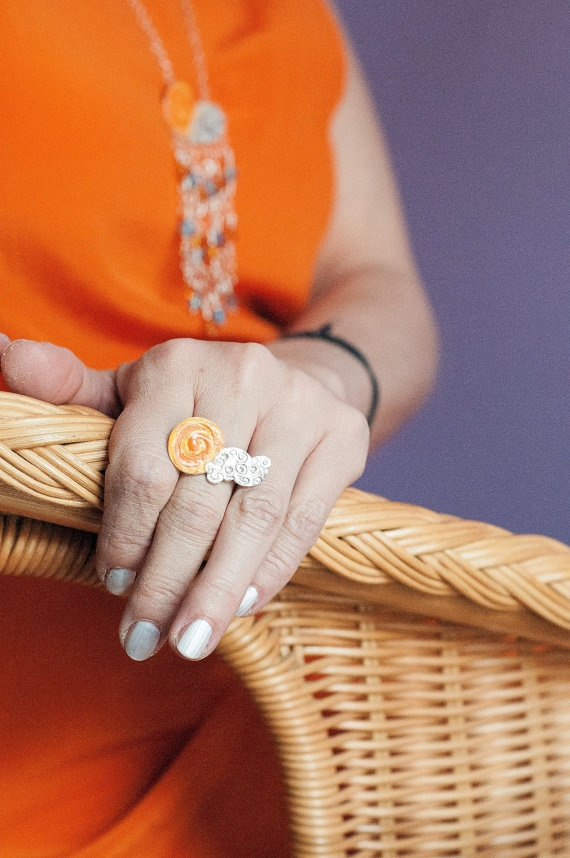 The Sun and the Cloud  Pure Silver Ring by SiBijoux on Etsy, €75.00