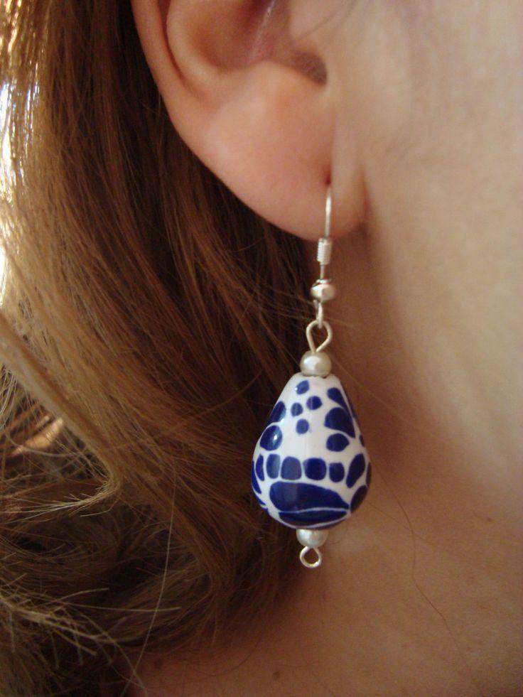 Talavera Earrings, Ceramic Earrings, Teardrop Earrings, Mexican Art, Mexican Pottery Design, Southwesthern Native de WENDYCERAMICJEWELRY en Etsy