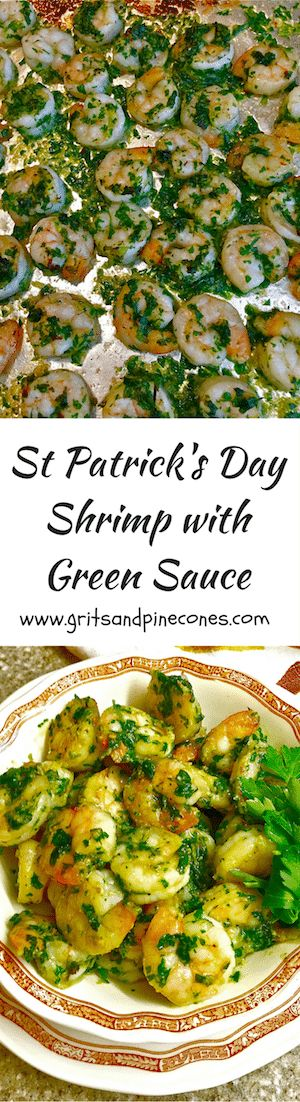 Ditch the green beer this year for St. Patrick's Day and try this quick, easy, healthy and delicious recipe for Shrimp with Green Sauce.   via @http://www.pinterest.com/gritspinecones/