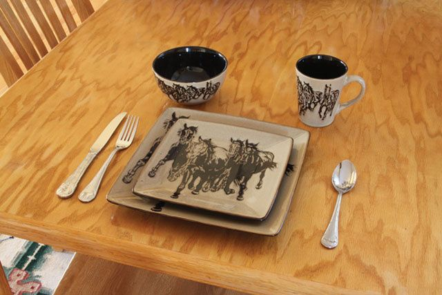 16 Pcs. Western Oversized Square Stoneware Dinnerware Dishes with Running Horses | Fun Stuff at Rustic Ranch Tack | Pinterest | Stoneware dinnerware ... & 16 Pcs. Western Oversized Square Stoneware Dinnerware Dishes with ...
