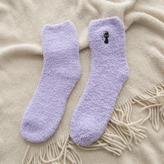 Lovely Women Embroidery Cat Printed Cotton Sock Autumn Winter Warm Casual Socks