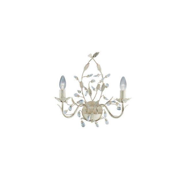 2492-2CR Almandite- nástenné svetlo krémovo-zlaté + krištáľ