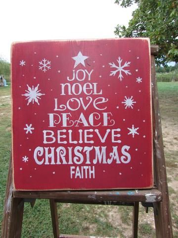"""This primitive rustic country Christmas sign is perfect for your primitive Christmas decor. It is made of wood and hand painted and distressed to give the look of an aged sign. it measures 26"""" X 5 1/2"""