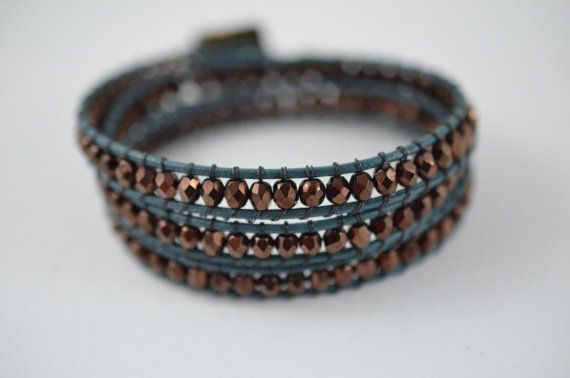 Triple Wrap bracelet  Teal and Bronze by Danerz on Etsy