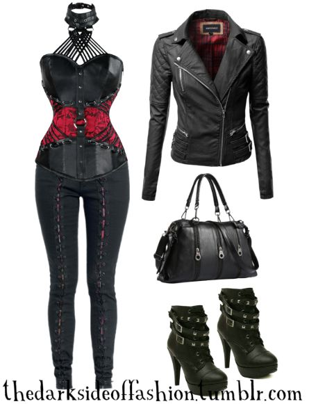 I would color you all red. Buy Here >>> Corset Top (plus sizes too) $47 / Pants $40 / Jacket $54 / Bag $25 / Boots $30