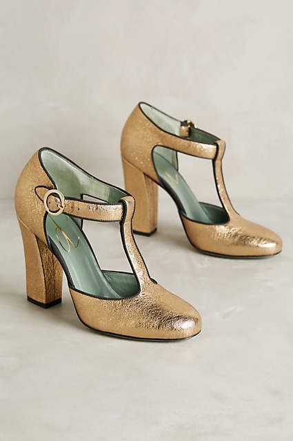 Gold Metallic Paola d'Arcano Livia T-Straps shoes #anthrofave Save 25% off today with code: SHOPTOIT