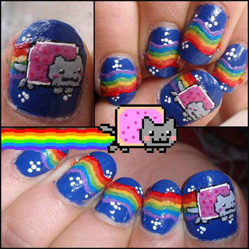 NYAN CAT NAILS!!! Hahaa