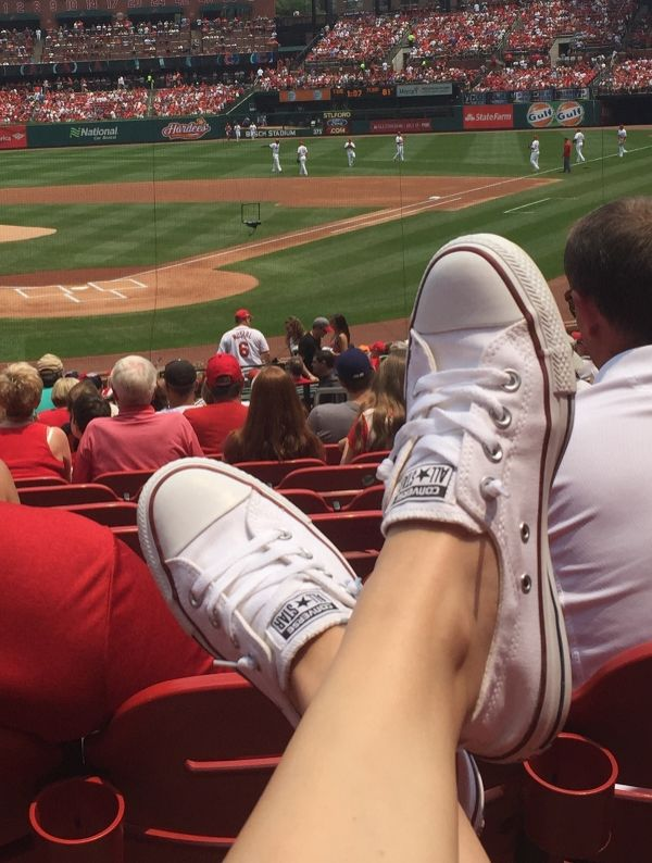 Nothing like kicking up your feet at a late summer baseball game. #converse
