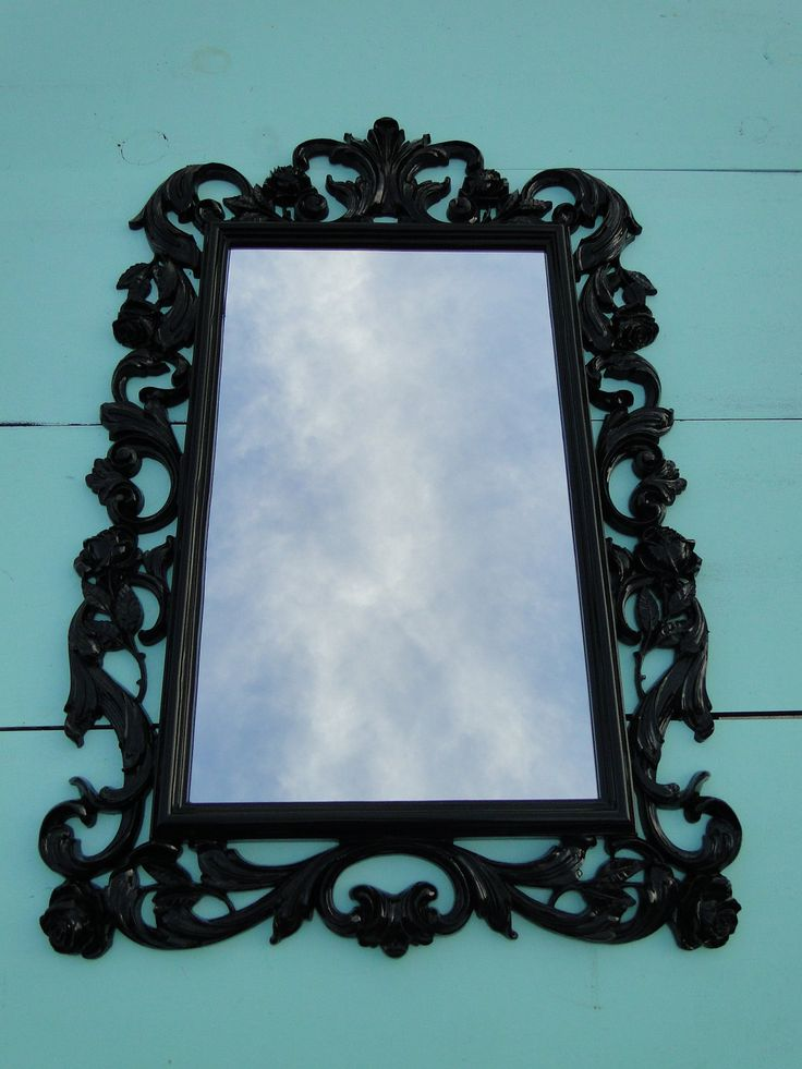 Vintage gothic mirror wall mirror glossy black frame for Big black wall mirror