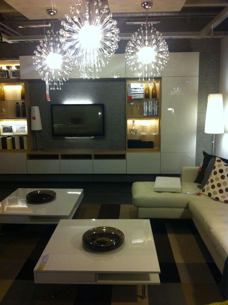 Tv Storage Ikea Besta In White Oak And Gloss White