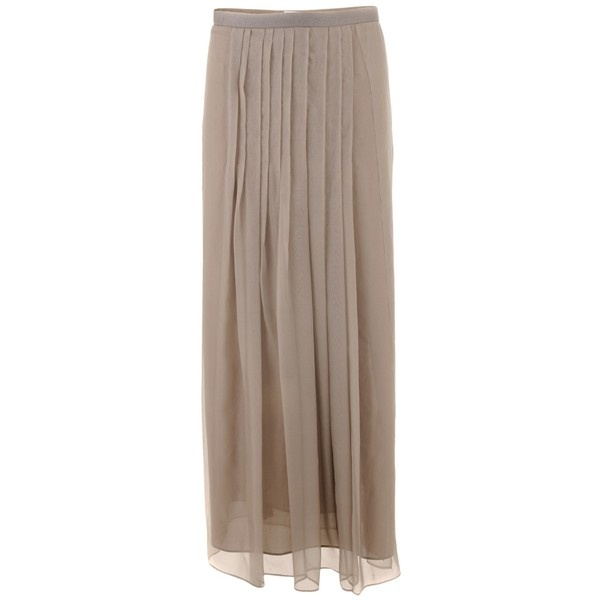 Brunello Cucinelli Taupe Silk Maxi Skirt ❤ liked on Polyvore