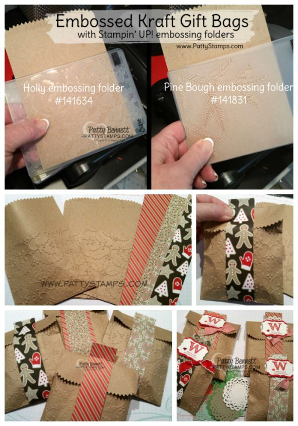 I was packaging up welcome packets for my new Luv 2 Stamp group demonstrators and I had a brainstorm moment... I decided instead of just putting little gifts in plain Kraft Bags, why not emboss the
