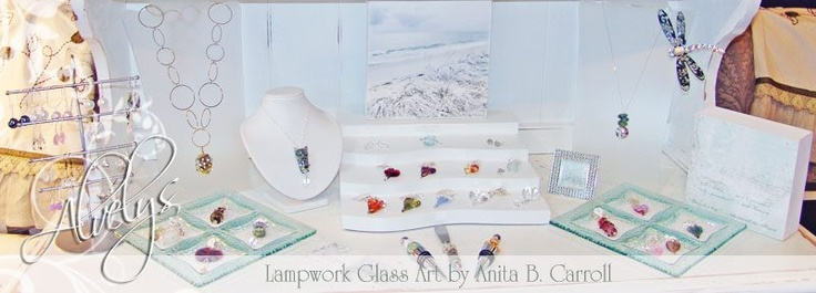 My works in glass on display at the #Garden #Party in #Milford, #NH  Glass works by Anita B. Carroll  ♥ Facebook: Alvelys  #Glass #Hearts #Beads #Jewelry #Alvelys #Anita #Carroll