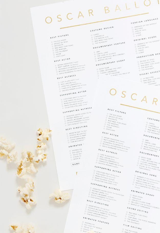 Printable Oscar ballot 2016 |  via almost makes perfect #oscars #oscarballot #movies #cinema