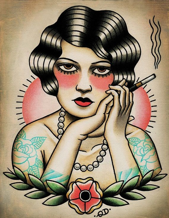 Image of Flapper Girl Smoking Tattoo Traditional Flash Art Print by Quyen Dinh