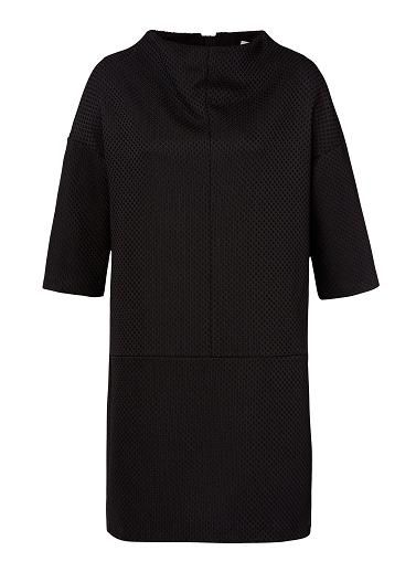 Polyester Funnel Neck Dress. Comfortable fitting silhouette features a scoop funnel neck, oversized straight body with a dropped shoulder and short sleeves complete with buttoned tab at centre back in an all over textured fabrication. Available in Black as shown.