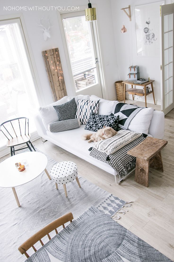 Modern monochrome living room with a hint of scandi design.
