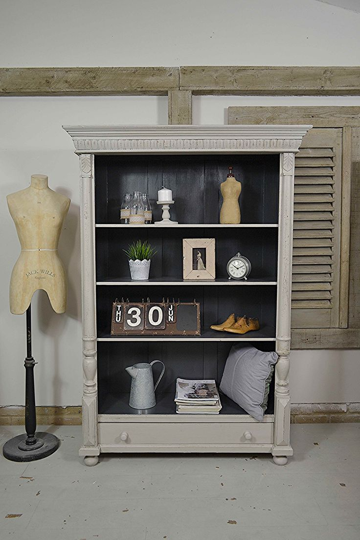 This sturdy Dutch bookcase has plenty of rustic character and good looks! We've painted in Farrow & Ball Purbeck Stone with Valspar Black Heron inside. It's been lightly distressed and aged with dark wax. #valspar #shabbychic #vintagefurniture #farrowandball  https://www.thetreasuretrove.co.uk/cabinets-and-storage/large-dutch-shabby-chic-rustic-bookcase