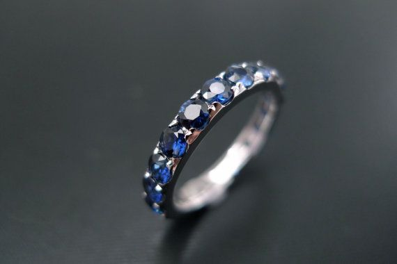Blue Sapphire Wedding Band Ring in 14K White by honngaijewelry