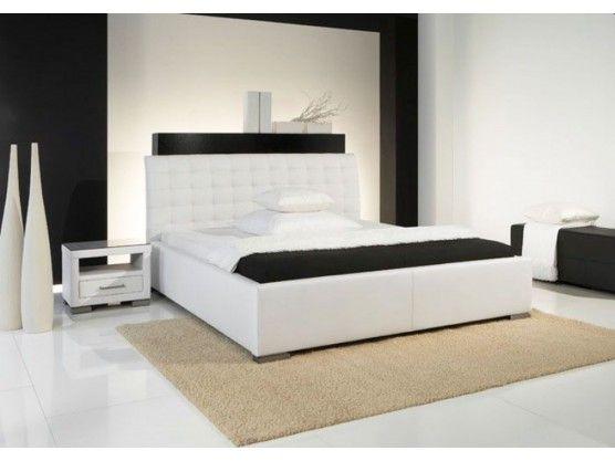 Lit design blanc avec tête de lit matelassée Izac 160x200 cm