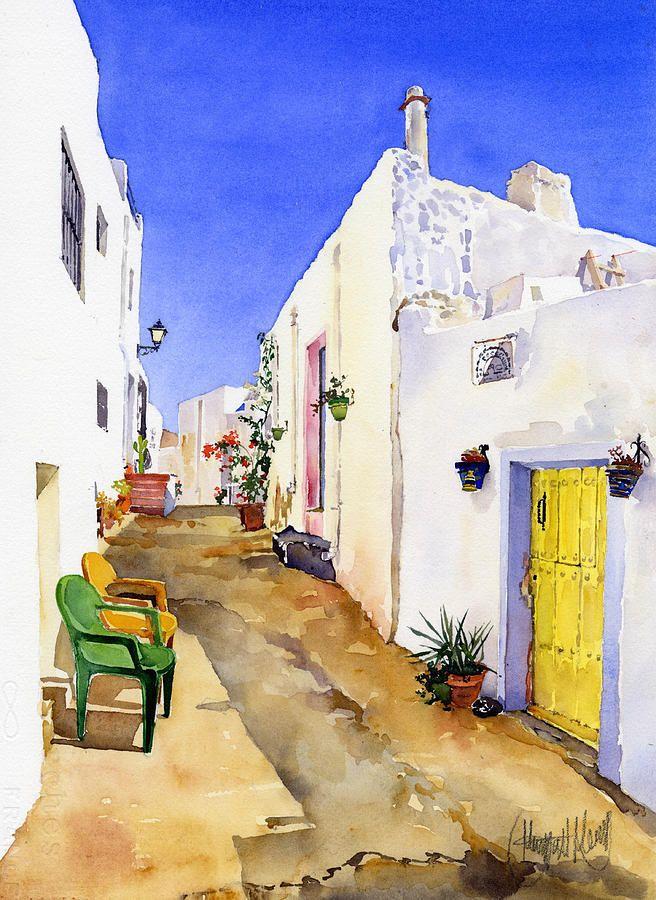 A corner of nijar akvareller och inspiration for Watercolor art prints for sale