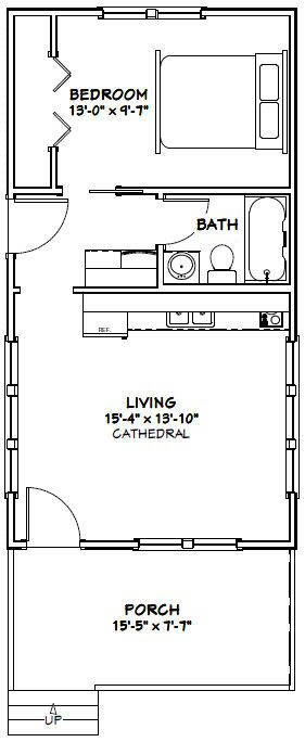 16x30 Tiny House -- #16X30H2A -- 480 sq ft - Excellent Floor Plans