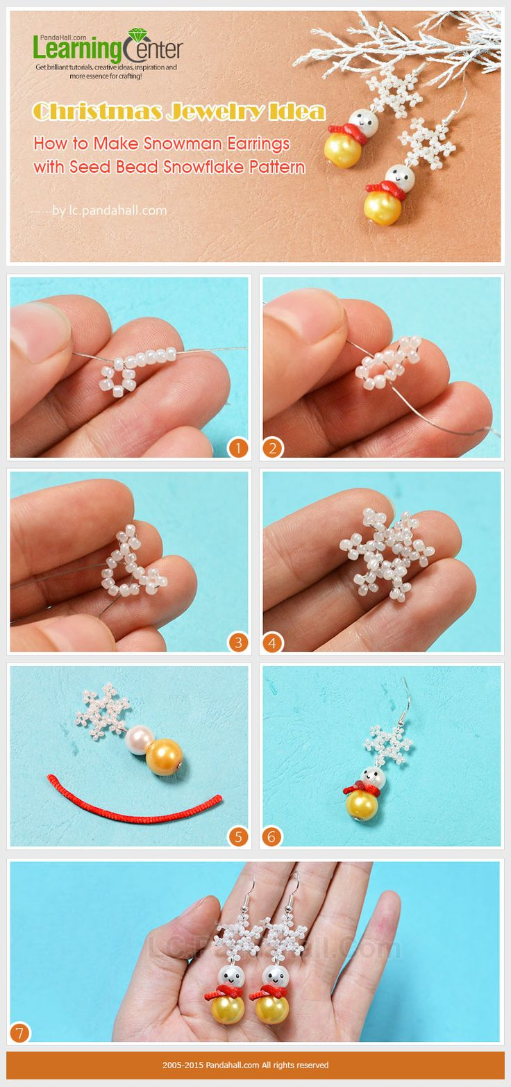 How to Make Snowman Earrings with Seed Bead Snowflake Pattern