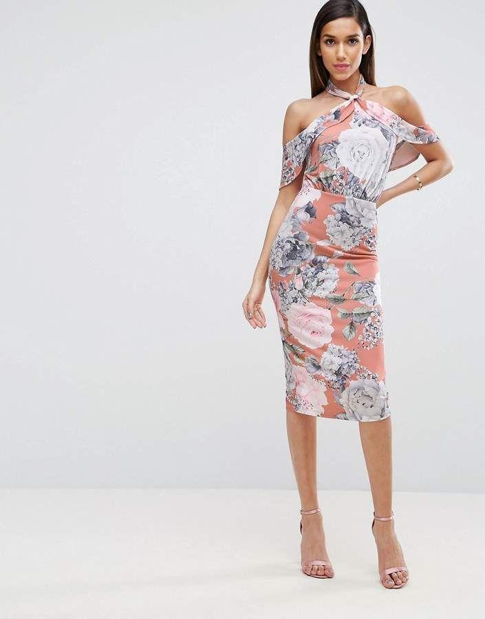 6020c6b69b ASOS Floral Twist Neck Ruffle Top Soft Pencil Dress