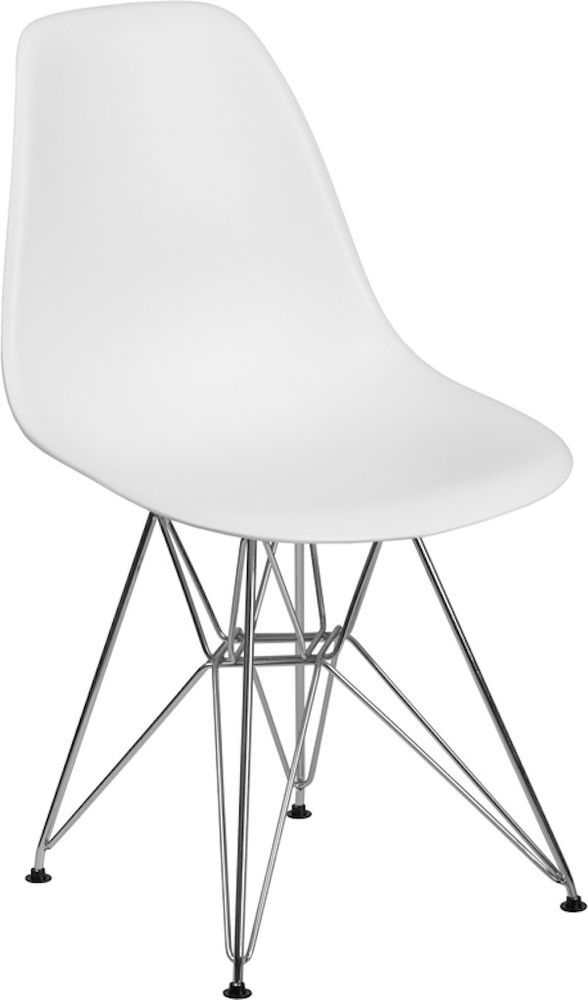 Mid Century Modern Chairs White Plastic Dining Chairs Accent Chairs Side Chairs Modern White Plastic Chairs Plastic Chair Molded Chair