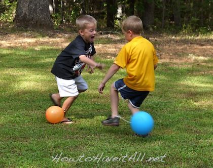 Tie a string to a balloon and to each child's ankle and then have them try and pop each others. Could have more on hand to keep the game going for those whose balloons popped early.