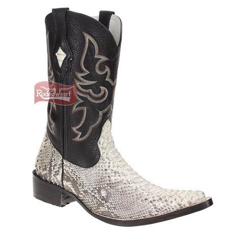 Bota Texana Masculina Exótica Cobra Marfim Cano Longo - Goyazes 16414