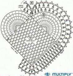 As Receitas de Crochê: Tapete coração rosa com flores e libélulas de crochê com gráfico