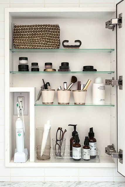 How To Organize Your Most Cluttered Spaces #refinery29 http://www.refinery29.com/one-kings-lane/2#slide-4 Inside The Medicine Cabinet…Store Things UprightCups and containers that fit on those shallow shelves are game-changers when organizing a medicine cabinet. They save space, are great for corralling makeup brushes, toothbrushes, and nail clippers, and keep small items like hair ties from magically disappearing.Keep Only What You UseChances are that any products you're using on the ...