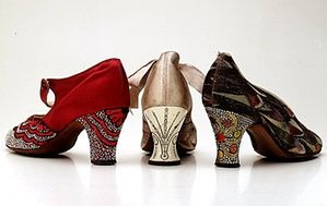 Heritage shoes: 1920's laquered heels covered with diamonte and paste...Louis heel