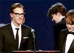 Benedict and TIG cast accept the Ensemble Performance Award onstage during the 26th Annual Palm Springs International Film Festival Awards Gala at Palm Springs Convention Center in Palm Springs, California. 3rd January 2015