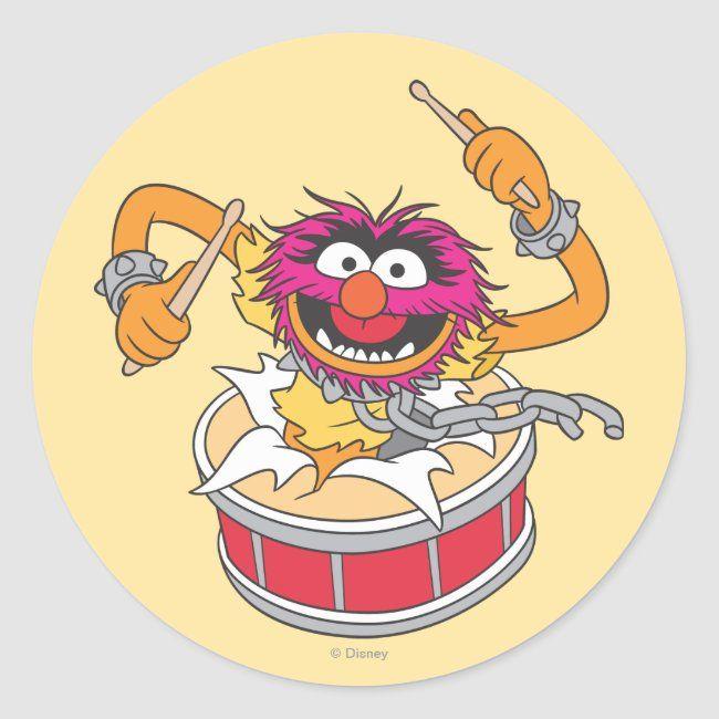 Animal Crashing Through Drums Classic Round Sticker Zazzle Com Muppets Animal Muppet Disney Movie Characters