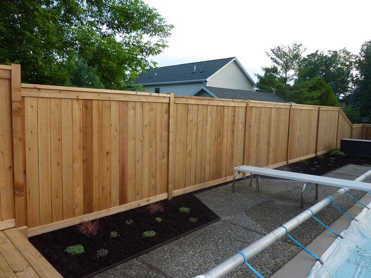 Custom Cedar Wood Privacy Fence Around Pool Built On Top