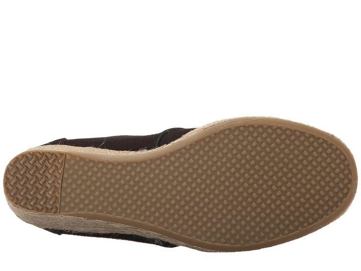 TOMS Desert Wedge Women's Wedge Shoes Black Textured Linen