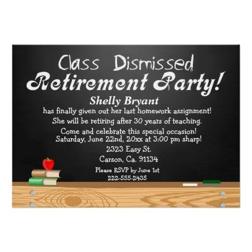 Class Dismissed Chalkboard Teacher Retirement Custom Invites