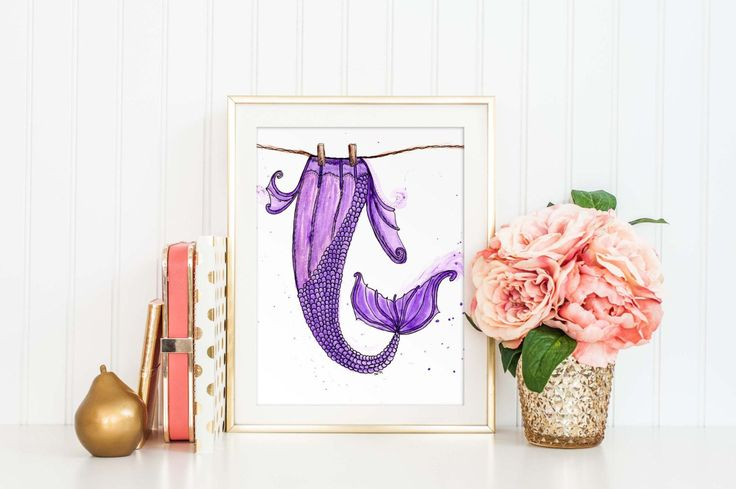 Mermaid Art Print, Laundry Room Decor, Funny Laundry Print, Watercolor Print, Bathroom Decor, Nautical, Purple Mermaids Tail Poster, SKU:033