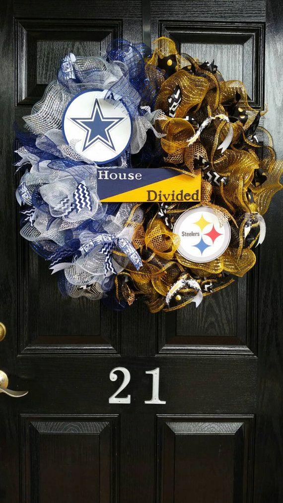 Large House Divided Sign Mesh Burlap Ribbon Wreath Dallas Cowboys Pittsburgh…