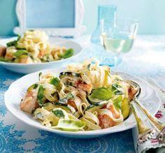 Das Rezept für Bandnudeln mit  Zucchini-Lachs-Soße und weitere kostenlose Rezepte auf LECKER.de