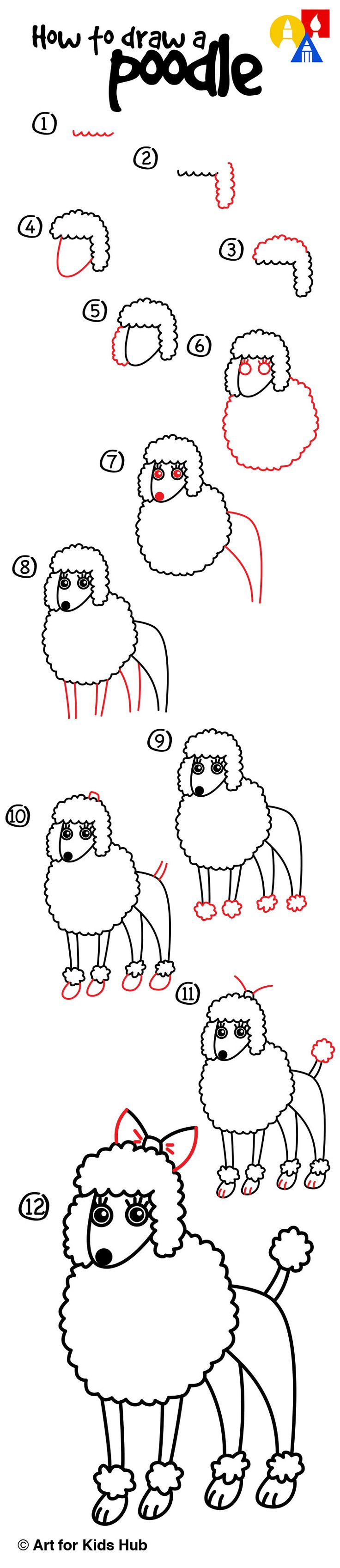 How To Draw A Poodle  Art For Kids Hub