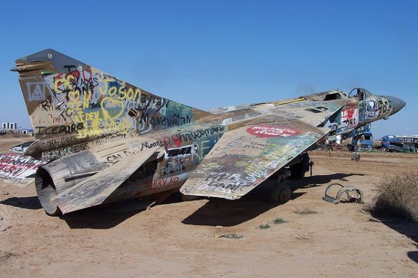 This derelict MiG-23 Flogger at the captured Iraqi Air Force base of Balad, within the so-called Sunni Triangle, was one of several gutted Russian-built fighters destroyed by American troops