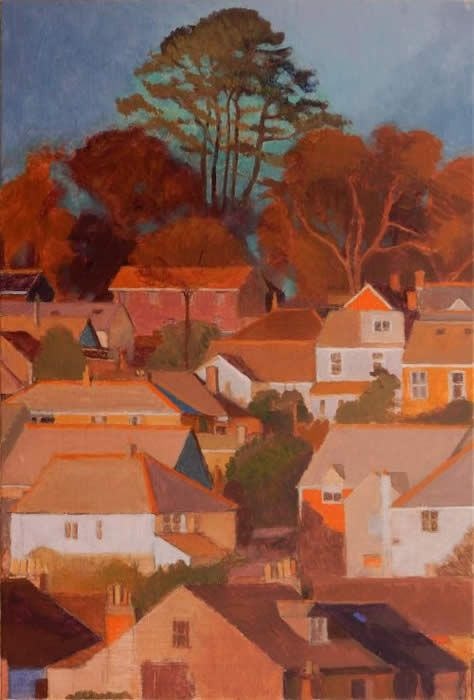 Hillside trees and houses, Bodmin, Tom Henderson Smith approx 76 x 51 cm. Acrylic on stretched canvas