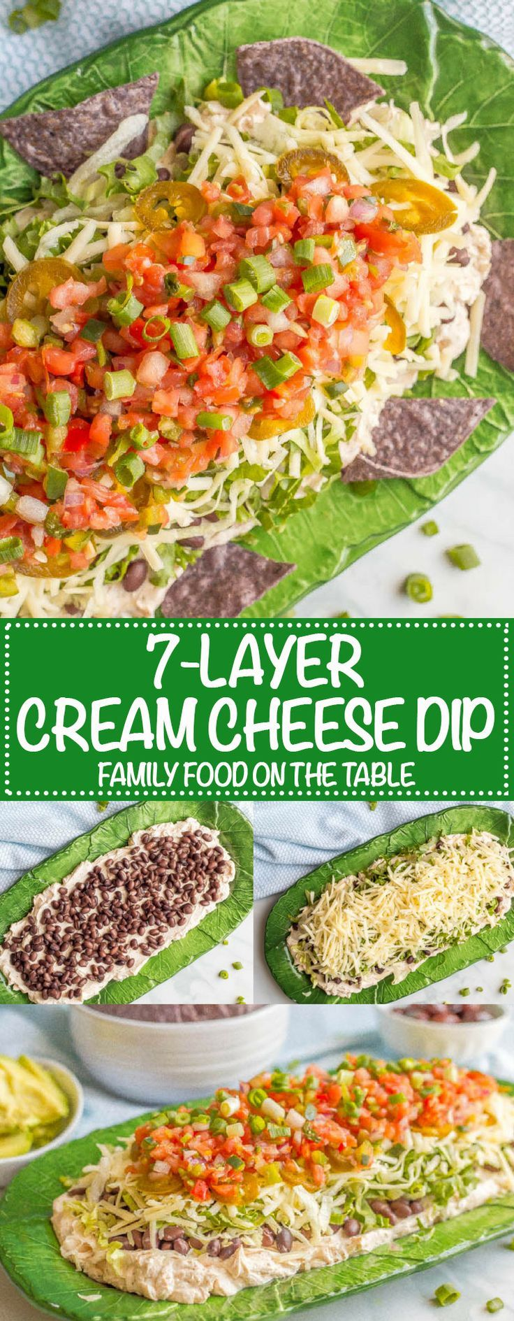 This easy, healthy 7-layer Mexican dip is creamy and cheesy, with some crisp, fresh flavors to balance it out. Full of taco flavor and your favorite toppings, this gorgeous dip is perfect for parties! #mexicandip #7layerdip #gamedayfood #easyappetizer | www.familyfoodonthetable.com