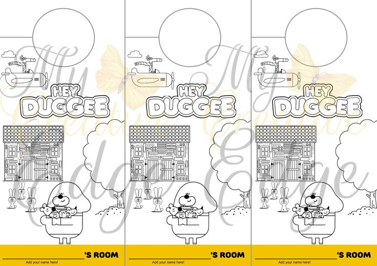 Hey Duggee - Party Favours - Colour Your Own Door Hanger - Instant Download by MyCreatve3dge on Etsy